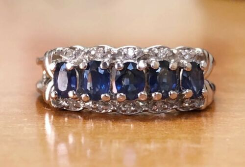 14k White Gold 1.06 Ct Natural Diamond & Oval Blue Sapphire Cluster Ring Size 7