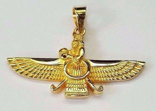 18k yellow gold Farvahar Ahura Mazda Zoroastrian Achaemenid pendant 32mm