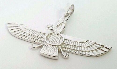 "18k White gold Farvahar Ahura Mazda Zoroastrian Achaemenid pendant 2"""