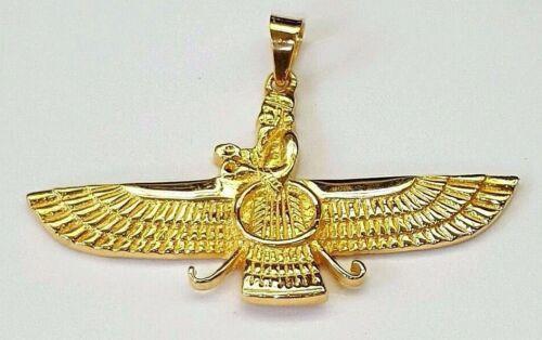 "18k yellow gold Farvahar Ahura Mazda Zoroastrian Achaemenid pendant 2"""