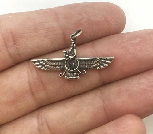 925 Silver Ahura Mazda Farvahar Zoroastrian pendant black painted 32 MM