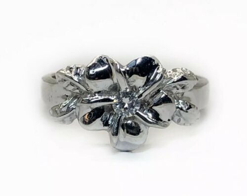 Vintage 14K White Gold 0.06 Ct Natural Round Diamond Flower Ring SI2, H
