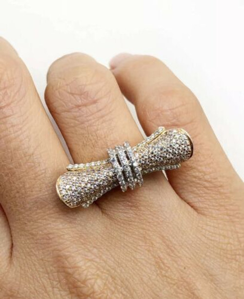 18k Yellow & Rose Gold CZ Ribbon Designer Piece Womens Ring 10 Grams