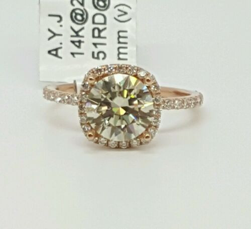 14k Rose Gold 1.91Ct Genuine Round Diamond & Moissanite Engagement Ring