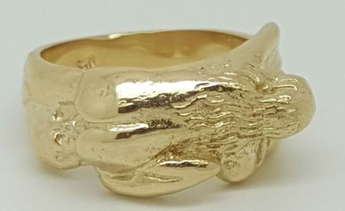 10k Yellow Gold Kama Sutra Erotic Hot Couple Sexy Love Position 69 Ring 8.4Grams
