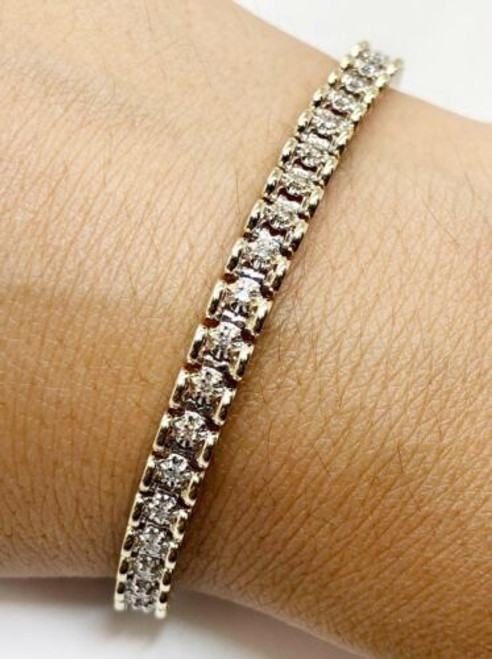 "0.75 Ct Diamond Tennis Bracelet 14k Yellow and White Gold 14.5 Grams 7"" SI1-G"