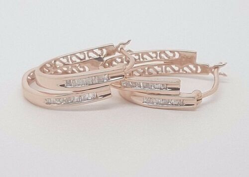 0.25 Ct Baguette Diamond 14k Rose Gold Hoop Earrings