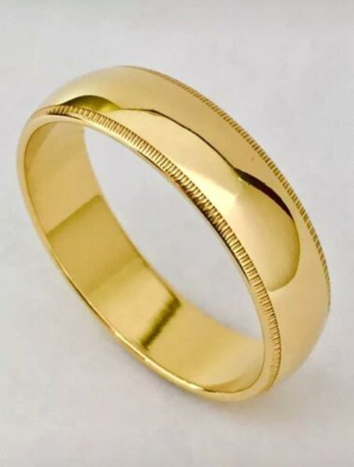 Solid 14K Yellow Gold 6 MM Size 8 Milgrain Comfort Fit Wedding Ring Band Unisex
