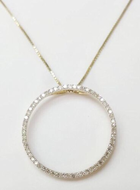 Round Brilliant 1 TCW Diamond 14k Yellow Gold Circle Eternity Pendant & Chain