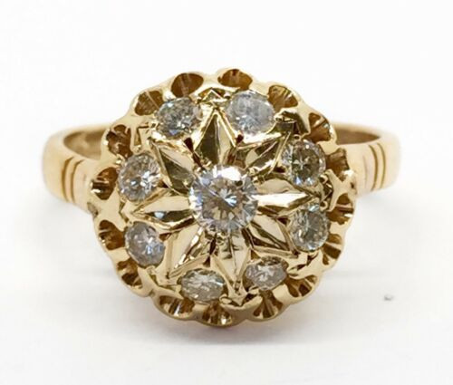 Vintage 14k Yellow Gold 0.60 Ct Natural Round Diamond Cluster Ring Size 6.75