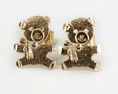 14k Solid Yellow Gold Teddy Bear Stud Earrings Women Children Push Back 10MM