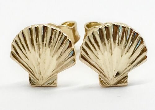 14k Yellow Gold Seashell Scallop Stud Earrings Nautical Unisex Push Back 7MM