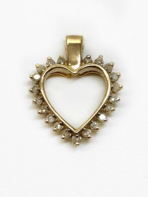 0.18 Ct Natural Diamond 10K Solid Yellow Gold Heart Love Charm Pendant 16 MM