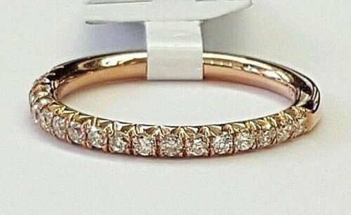 0.39ct Pavé Round Diamond in 14K Rose Gold Half Eternity Band - Size 6.25