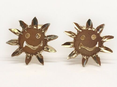 14k Solid Yellow Gold Happy Face Sunflower Stud Earrings Push Back 9MM