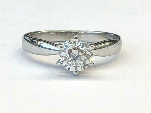 0.72Ct G/I1 Round Diamond 14k White Gold Solitaire Engagement Ring IGI Certified