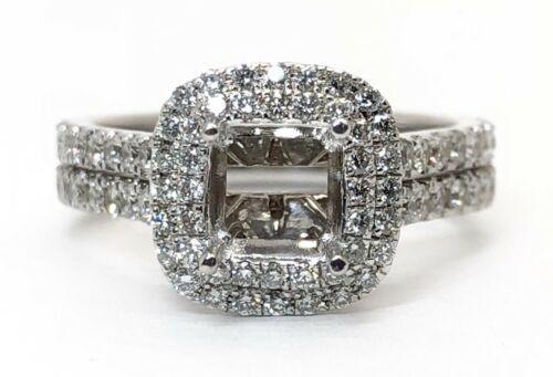 14k White Gold Diamond Engagement Ring Double Halo Semi Mount 6 MM Round,Cushion