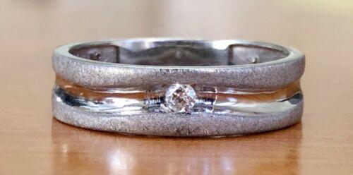 Men's 18K White Gold 6MM Size 8 Matte Finish Solitaire Natural Diamond Band Ring