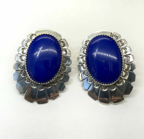 Vintage 925 Sterling Silver Lapis Lazuli Large Earrings Leroy Sandoval