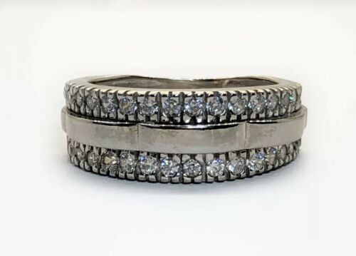 14K Solid White Gold Wide CZ Band Ring Size 5.5 Ring For Women
