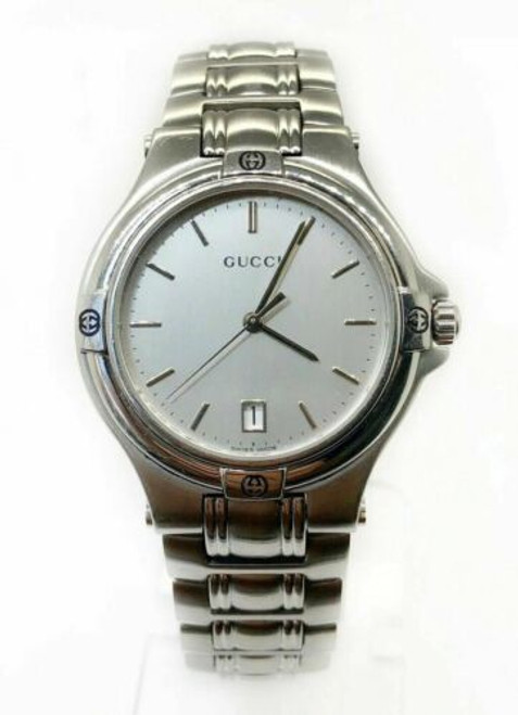 Authentic GUCCI Date SS Men's QZ Quartz Watch 9040M MO_11770029