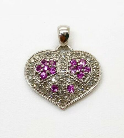 14K Solid White Gold Heart Pendant 1 Ct Natural Diamond & Pink Sapphire