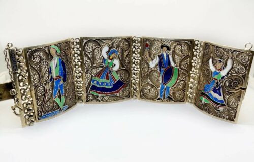 Vintage Portugal Enamel Dancing People On Gold Plated Sterling Silver Bracelet
