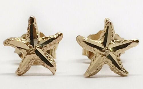 14k Real Yellow Gold Starfish Sea Life Ocean Summer Stud Earrings Push Back 7MM