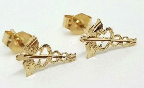 14k Solid Yellow Gold Caduceus Symbol of Medicine Stud Earrings Push Back 11MM