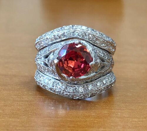 14K White Gold Wide Ring Certified 3.72Ct Diamond & Orange Padparadscha Sapphire