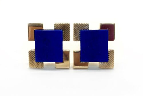 Vintage 14k Yellow Gold Lapis Lazuli Mens Cufflinks 13.3 Grams Rectangular shape