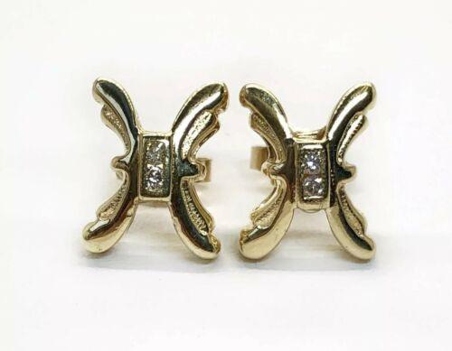 14K Solid Yellow Gold 0.06 Ct Diamond Ribbon Butterfly Stud Earrings 11 MM