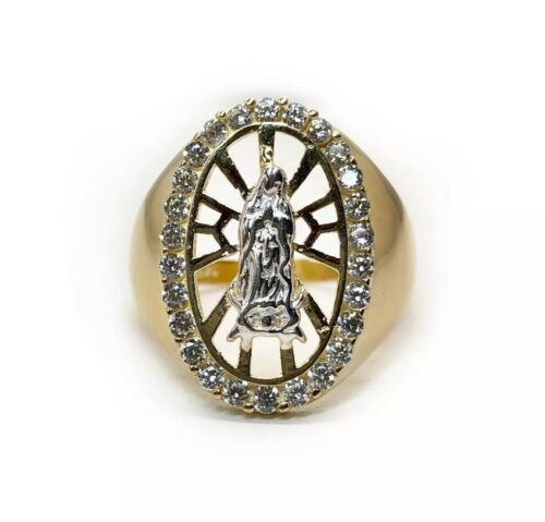 14k Solid Yellow Gold Mens Ring Virgin Mary Guadalupe CZ 5.6 Grams