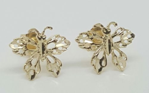 14k Solid Yellow Gold Butterfly Mariposa Stud Earrings Women/Children Push Back