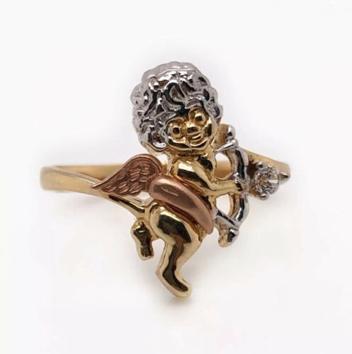 14K Solid Tri Color Gold Angel Women's Girl's Ring Size 8 CZ
