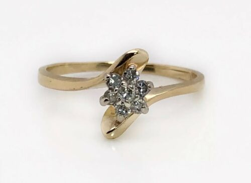 14K Solid Yellow Gold 0.10 Ct Natural Round Diamond Cluster Flower Ring Womens