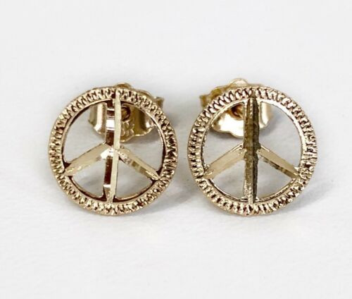 14k Solid Yellow Gold Peace Sign Logo Stud Earrings Men / Women Push Back 9 MM