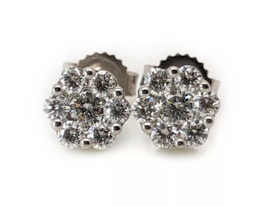 18K Solid White Gold 0.40 TCW Diamond Flower Cluster Stud Earrings 6 MM VS2, F