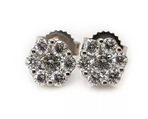 18K Solid White Gold 0.40 TCW Diamond Flower Cluster Stud Earrings 6 MM VS2, F