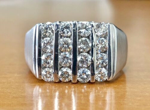 14K Solid White Gold 2.50 Ct Natural Diamond Men Cluster Ring 18.2 Gr Size 14.5