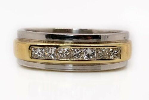 950 Platinum & 18K Yellow Gold 0.56Ct Natural Princess Cut Diamond Mens Ring VS2