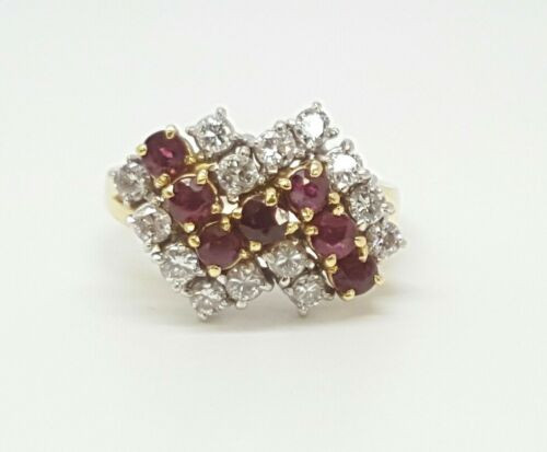 Vintage 18k Solid Yellow Gold 1.89 Ct Natural VS,F Diamond & Ruby Cluster Ring