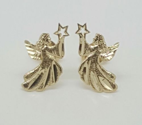 14k Solid Yellow Gold Fairy Angel Stud Earrings Women/Children/Men Push Back