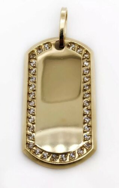 "Men 10K Yellow Gold CZ Custom Dog Tag Charm Pendant, 1.53"", 7.5 Grams"