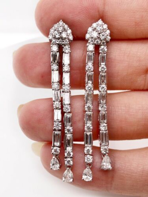 18K White Gold 5 Ct Diamond Dangle Earrings 1.93""