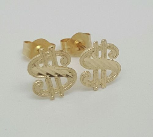 14k Solid Yellow Gold Dollar Sign $ Stud Earrings Women/Children Push Back 8MM