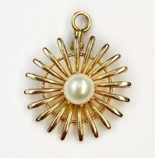 Vintage 14K Solid Yellow Gold Pearl Sun, Flower Women Cluster Pendant 0.94""