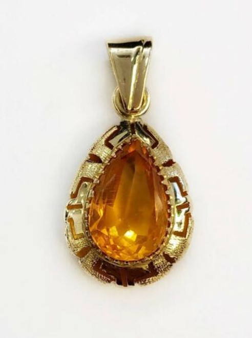 14K Yellow Gold Pear Shape Fire Opal Greek Key Charm Pendant 3.2 Grams