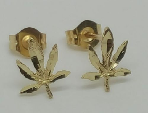 14k Solid Yellow Gold Marijuana Leaf Weed Stud Earrings Women/Men Push Back 8MM