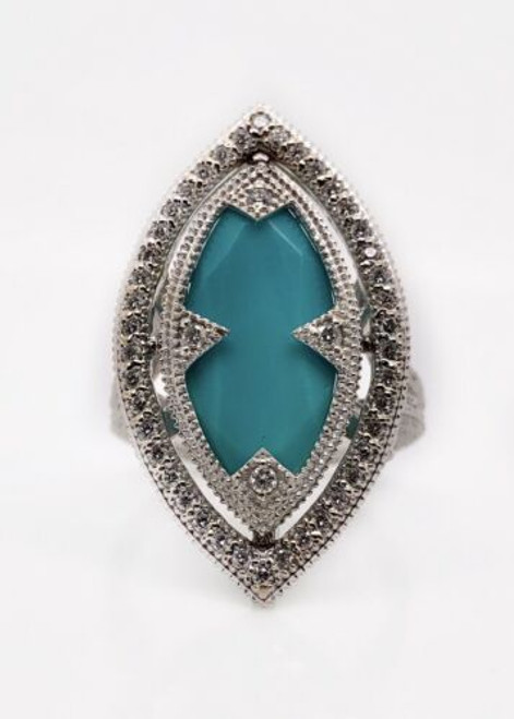Jude Frances 18k White Gold 4.60 Ct Diamond & Turquoise Wide Ring